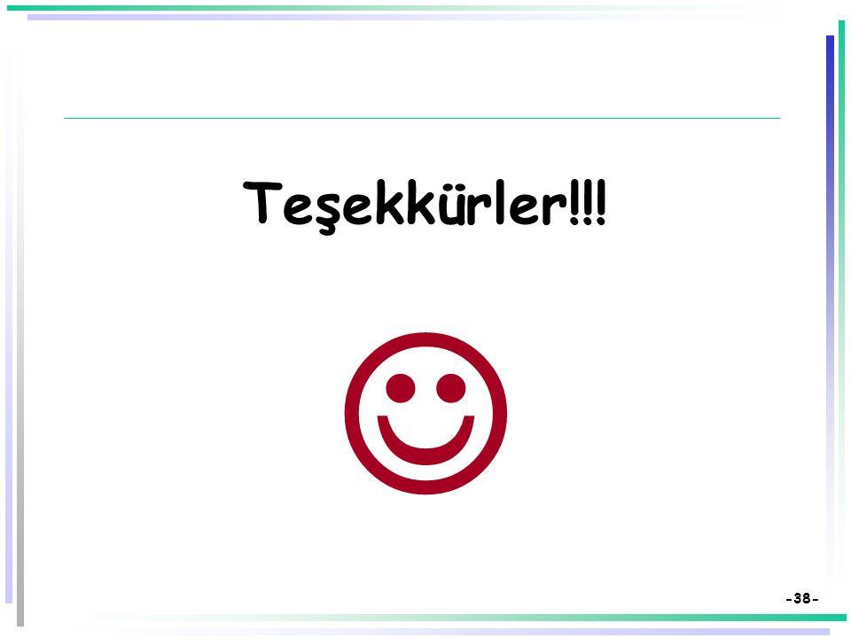 -37- Kaynakça  Demirel, Ö. (2009). Kuramdan uygulamaya eğitimde program geliştirme (12. Baskı). Ankara: Pegem A Yayıncılık.  Demirel, Ö. (2008). Öğr