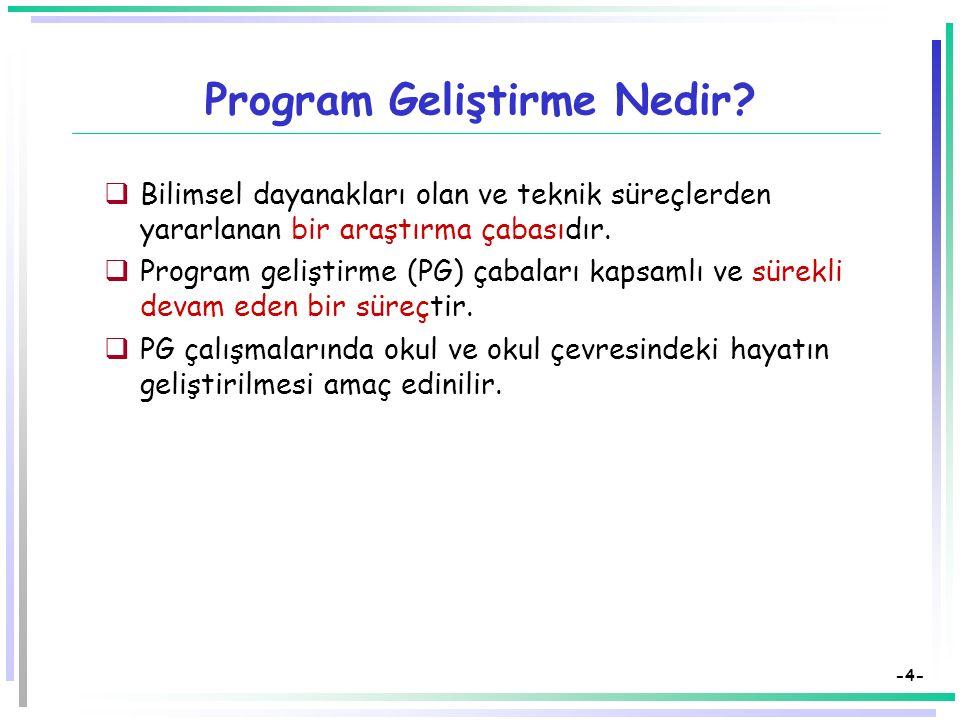 -3- Eğitimde Program Geliştirme Süreci  Bir eğitim sisteminde ortaya çıkan sorunların çözümü, o sistemdeki eğitim politikalarına yani okuldaki öğrenc