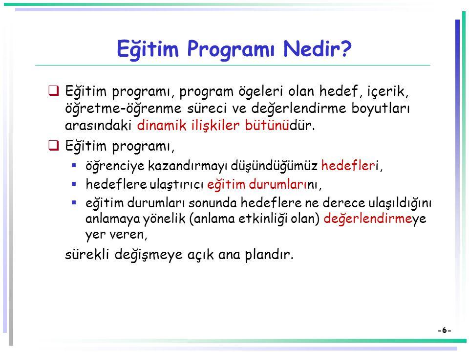 -36- Eğitimde Program Geliştirme Modelleri Program Geliştirme Süreci:  Aday Hedefler  Süzgeçler (Eğitim Felsefesi, Eğitim Psikolojisi Eğitim Ekonomisi, Eğitim Sosyolojisi)  Hedefler  Hedef Davranışlar (İşe vuruklaştırma)  Eğitim Durumlarının Saptanması  Öğrenme Yaşantılarının Kazandırılması  Değerlendirme