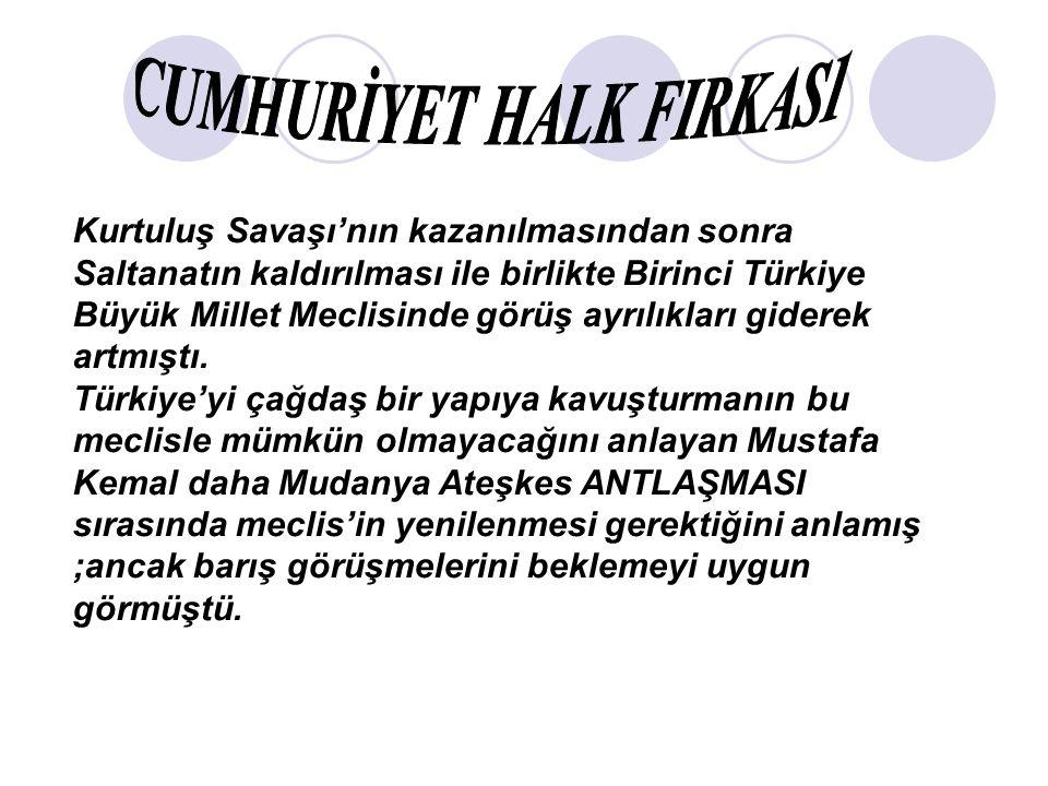 Kurtuluş Savaşı'nın kazanılmasından sonra Saltanatın kaldırılması ile birlikte Birinci Türkiye Büyük Millet Meclisinde görüş ayrılıkları giderek artmıştı.