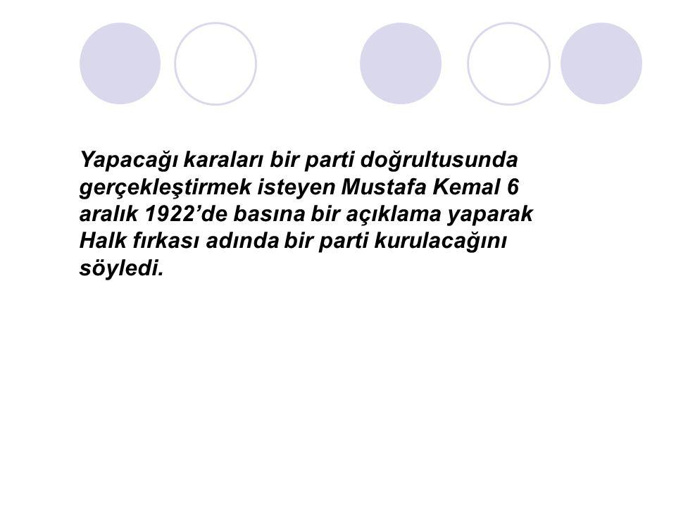 Yapacağı karaları bir parti doğrultusunda gerçekleştirmek isteyen Mustafa Kemal 6 aralık 1922'de basına bir açıklama yaparak Halk fırkası adında bir parti kurulacağını söyledi.