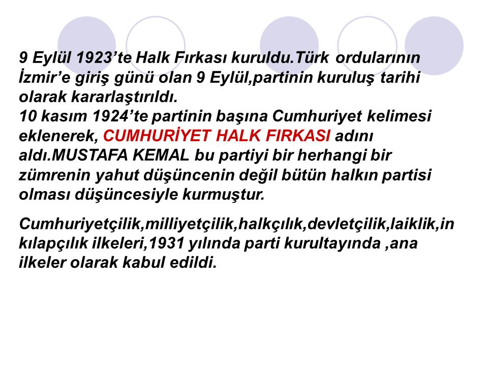 9 Eylül 1923'te Halk Fırkası kuruldu.Türk ordularının İzmir'e giriş günü olan 9 Eylül,partinin kuruluş tarihi olarak kararlaştırıldı.