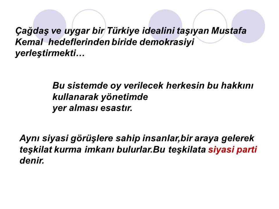 Çağdaş ve uygar bir Türkiye idealini taşıyan Mustafa Kemal hedeflerinden biride demokrasiyi yerleştirmekti… Bu sistemde oy verilecek herkesin bu hakkını kullanarak yönetimde yer alması esastır.