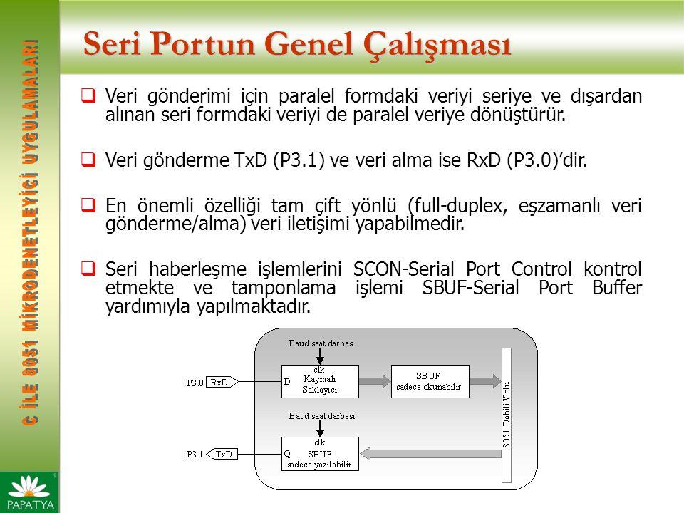 Seri Portun Genel Çalışması  Veri gönderimi için paralel formdaki veriyi seriye ve dışardan alınan seri formdaki veriyi de paralel veriye dönüştürür.