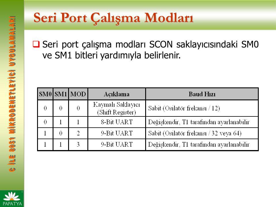 Seri Port Çalışma Modları  Seri port çalışma modları SCON saklayıcısındaki SM0 ve SM1 bitleri yardımıyla belirlenir.