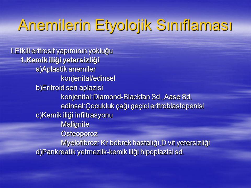 Anemilerin Etyolojik Sınıflaması I.Etkili eritrosit yapımının yokluğu 1.Kemik iliği yetersizliği a)Aplastik anemiler konjenital/edinsel b)Eritroid seri aplazisi konjenital:Diamond-Blackfan Sd.,Aase Sd.