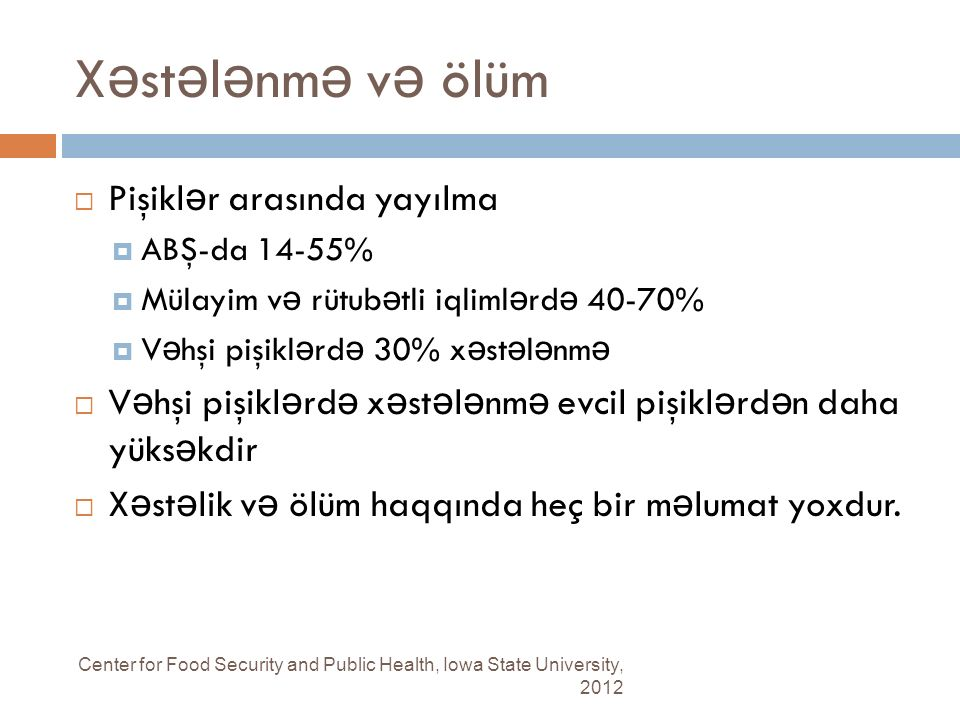 X ə st ə l ə nm ə v ə ölüm Center for Food Security and Public Health, Iowa State University, 2012  Pişikl ə r arasında yayılma  ABŞ-da 14-55%  Mül