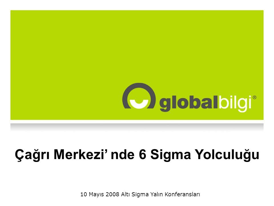 Global-Bilgi, Altı Sigma Yalın Konferansları, TMMOB İzmir Tamamlanan 14 proje Toplam 8,5 milyon YTL tasarruf Devam eden 4 proje Projelerde çalışan 70 kişi Faaliyetlerin etkin, verimli, maliyet odaklı yönetimi -ACHT- 2005 -Servis Optimizasyon- 2005 -Quintus- 2005 -Outbound verimlik- 2006 -IVR da sonlanan çağrı- 2006 -Skill optimizasyon- 2006 -ACHT modelleme -2007 Nihai Müşteri Deneyimi yaşatmak -First Call Resolution- 2005 -Task Azaltılması- 2005 -SGS optimizasyonu- 2006 -Çağrı Aktarımları- 2006 -Müşteri memnuniyeti formulasyonu- 2007 -SGS adetleri- 2007 Yüzyüze kanalının entegrasyonu - Saha Müşteri Yönetimi Entegrasyonu- 2007 Mutlu, bağlı, yüksek performanslı takım -Flexi performans-2007 -Toplantı verimliliği- 2007 -İş gücü kaybı-2007 -TEA ekran iyileştirme- 2007 Projelerimiz