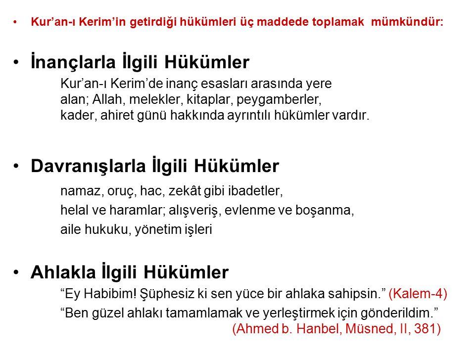Kur'an-ı Kerim'in getirdiği hükümleri üç maddede toplamak mümkündür: İnançlarla İlgili Hükümler Kur'an-ı Kerim'de inanç esasları arasında yere alan; A