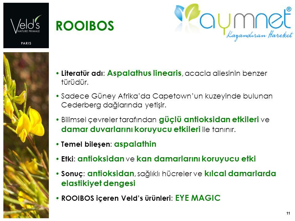11 ROOIBOS Literatür adı : Aspalathus linearis, acacia ailesinin benzer türüdür. Sadece Güney Afrika'da Capetown'un kuzeyinde bulunan Cederberg dağlar