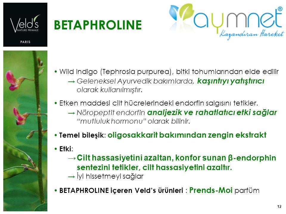 12 BETAPHROLINE Wild Indigo (Tephrosia purpurea), bitki tohumlarından elde edilir → Geleneksel Ayurvedik bakımlarda, kaşıntıyı yatıştırıcı olarak kull