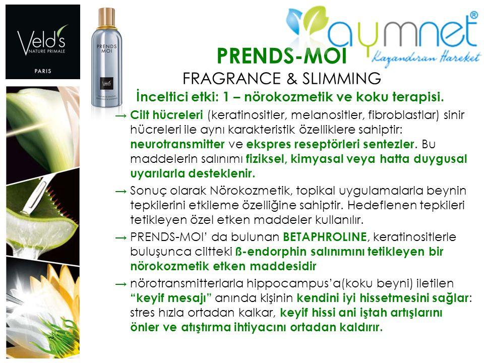 PRENDS-MOI FRAGRANCE & SLIMMING İnceltici etki: 1 – nörokozmetik ve koku terapisi. → Cilt hücreleri (keratinositler, melanositler, fibroblastlar) sini