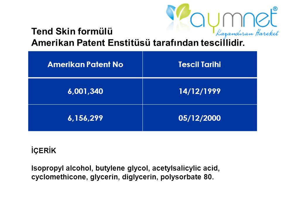 Amerikan Patent NoTescil Tarihi 6,001,34014/12/1999 6,156,29905/12/2000 Tend Skin formülü Amerikan Patent Enstitüsü tarafından tescillidir. İÇERİK Iso