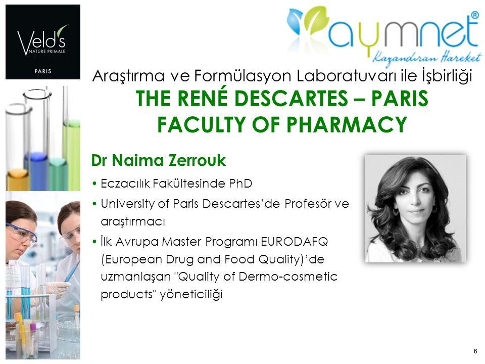 6 Araştırma ve Formülasyon Laboratuvarı ile İşbirliği THE RENÉ DESCARTES – PARIS FACULTY OF PHARMACY Dr Naima Zerrouk Eczacılık Fakültesinde PhD Unive