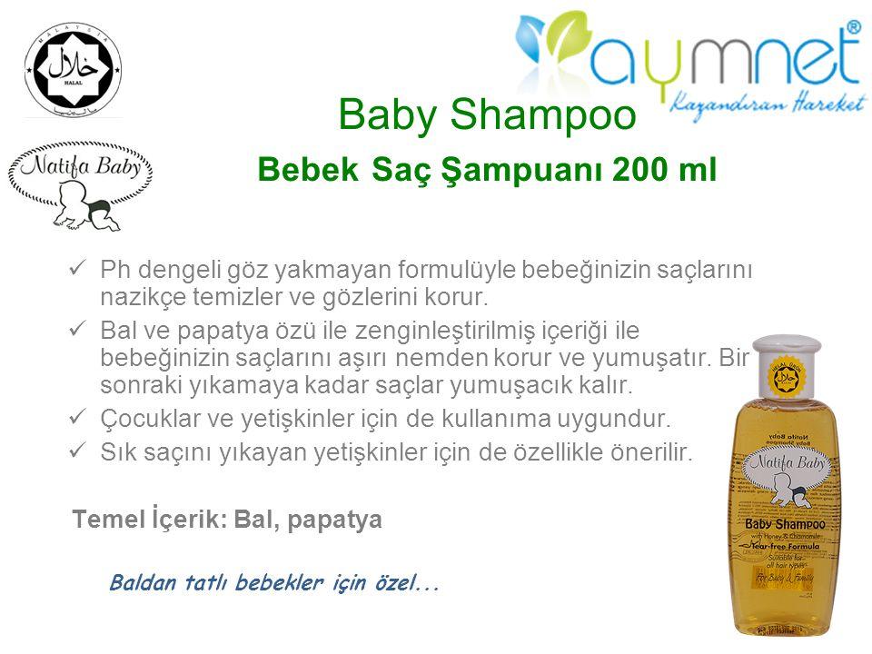 Baby Shampoo Bebek Saç Şampuanı 200 ml Ph dengeli göz yakmayan formulüyle bebeğinizin saçlarını nazikçe temizler ve gözlerini korur. Bal ve papatya öz