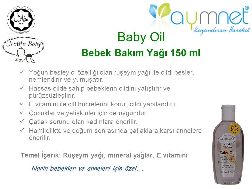 Baby Oil Bebek Bakım Yağı 150 ml Yoğun besleyici özelliği olan ruşeym yağı ile cildi besler, nemlendirir ve yumuşatır. Hassas cilde sahip bebeklerin c