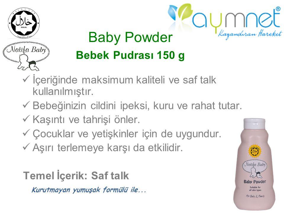 Baby Powder Bebek Pudrası 150 g İçeriğinde maksimum kaliteli ve saf talk kullanılmıştır. Bebeğinizin cildini ipeksi, kuru ve rahat tutar. Kaşıntı ve t