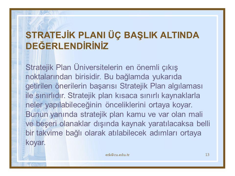 erk@cu.edu.tr13 STRATEJİK PLANI ÜÇ BAŞLIK ALTINDA DEĞERLENDİRİNİZ Stratejik Plan Üniversitelerin en önemli çıkış noktalarından birisidir.