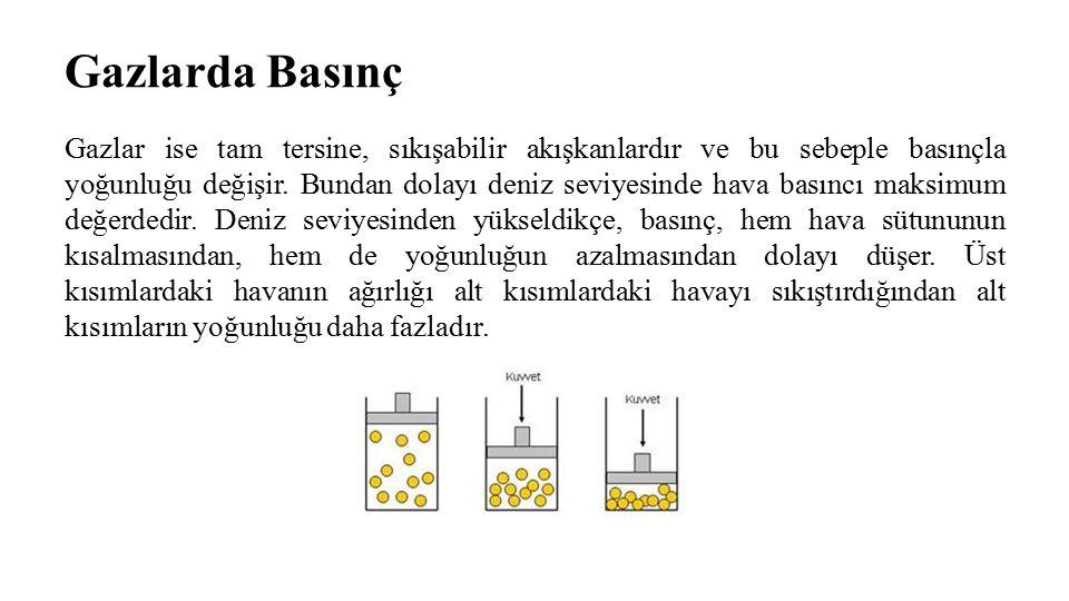 Gazlarda Basınç Gazlar ise tam tersine, sıkışabilir akışkanlardır ve bu sebeple basınçla yoğunluğu değişir. Bundan dolayı deniz seviyesinde hava basın