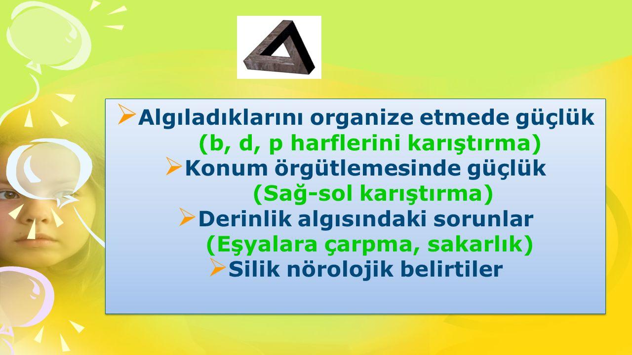 Ø Algıladıklarını organize etmede güçlük (b, d, p harflerini karıştırma) Ø Konum örgütlemesinde güçlük (Sağ-sol karıştırma) Ø Derinlik algısındaki sor