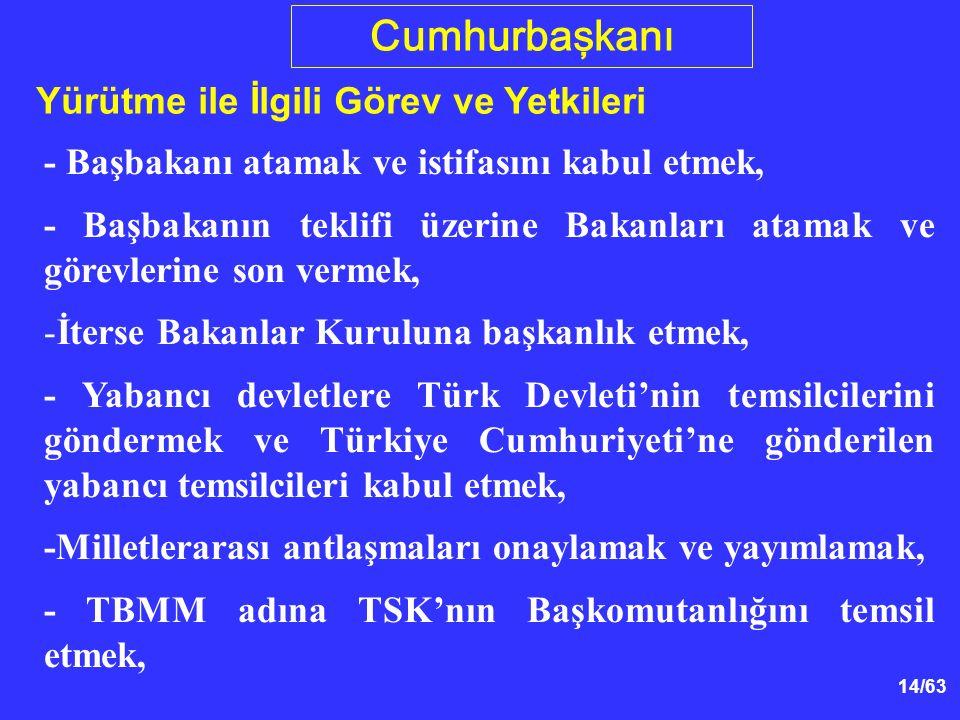 14/63 Cumhurbaşkanı Yürütme ile İlgili Görev ve Yetkileri - Başbakanı atamak ve istifasını kabul etmek, - Başbakanın teklifi üzerine Bakanları atamak ve görevlerine son vermek, -İterse Bakanlar Kuruluna başkanlık etmek, - Yabancı devletlere Türk Devleti'nin temsilcilerini göndermek ve Türkiye Cumhuriyeti'ne gönderilen yabancı temsilcileri kabul etmek, -Milletlerarası antlaşmaları onaylamak ve yayımlamak, - TBMM adına TSK'nın Başkomutanlığını temsil etmek,