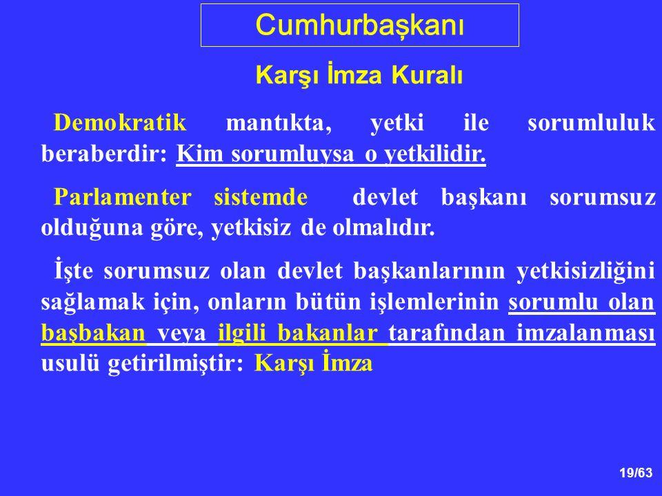 19/63 Cumhurbaşkanı Karşı İmza Kuralı Demokratik mantıkta, yetki ile sorumluluk beraberdir: Kim sorumluysa o yetkilidir.
