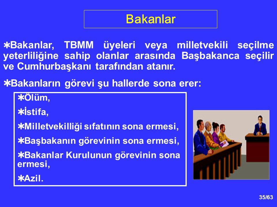 35/63  Bakanlar, TBMM üyeleri veya milletvekili seçilme yeterliliğine sahip olanlar arasında Başbakanca seçilir ve Cumhurbaşkanı tarafından atanır.