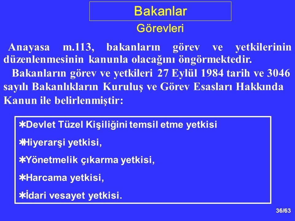 36/63  Devlet Tüzel Kişiliğini temsil etme yetkisi  Hiyerarşi yetkisi,  Yönetmelik çıkarma yetkisi,  Harcama yetkisi,  İdari vesayet yetkisi.