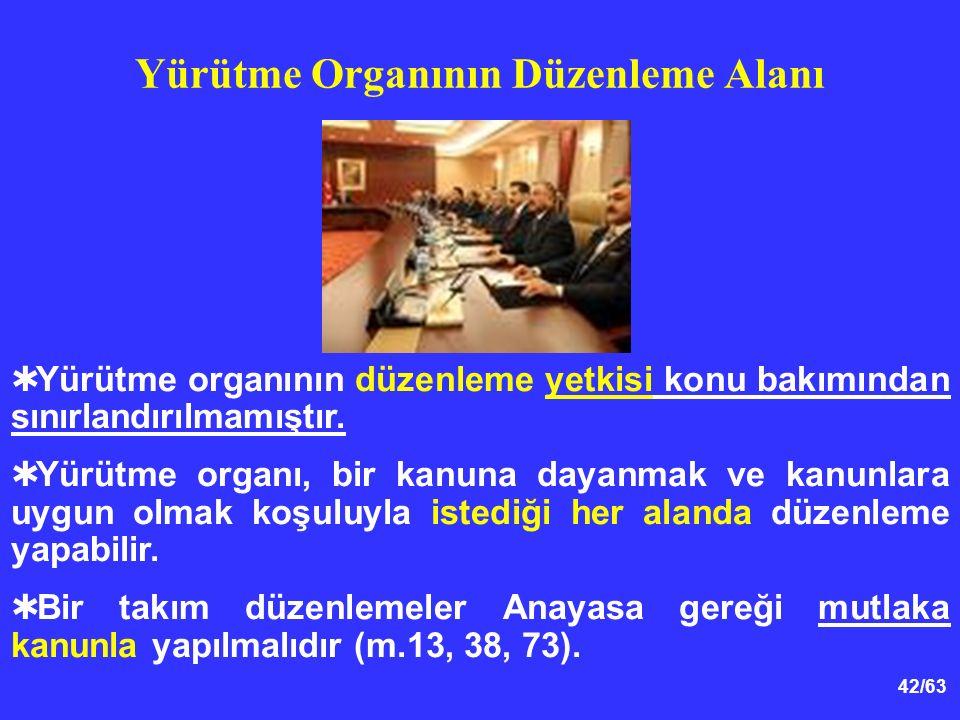 42/63  Yürütme organının düzenleme yetkisi konu bakımından sınırlandırılmamıştır.
