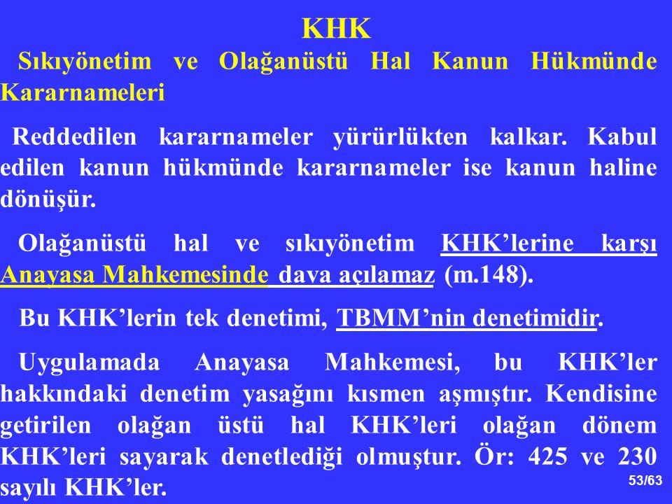 53/63 KHK Sıkıyönetim ve Olağanüstü Hal Kanun Hükmünde Kararnameleri Reddedilen kararnameler yürürlükten kalkar.
