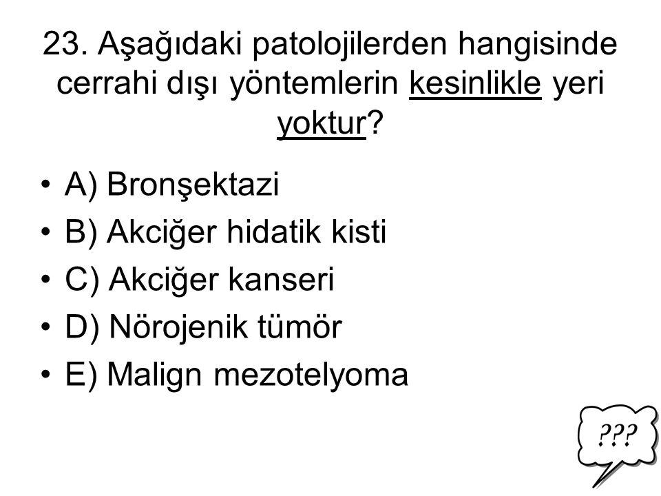 23.Aşağıdaki patolojilerden hangisinde cerrahi dışı yöntemlerin kesinlikle yeri yoktur.