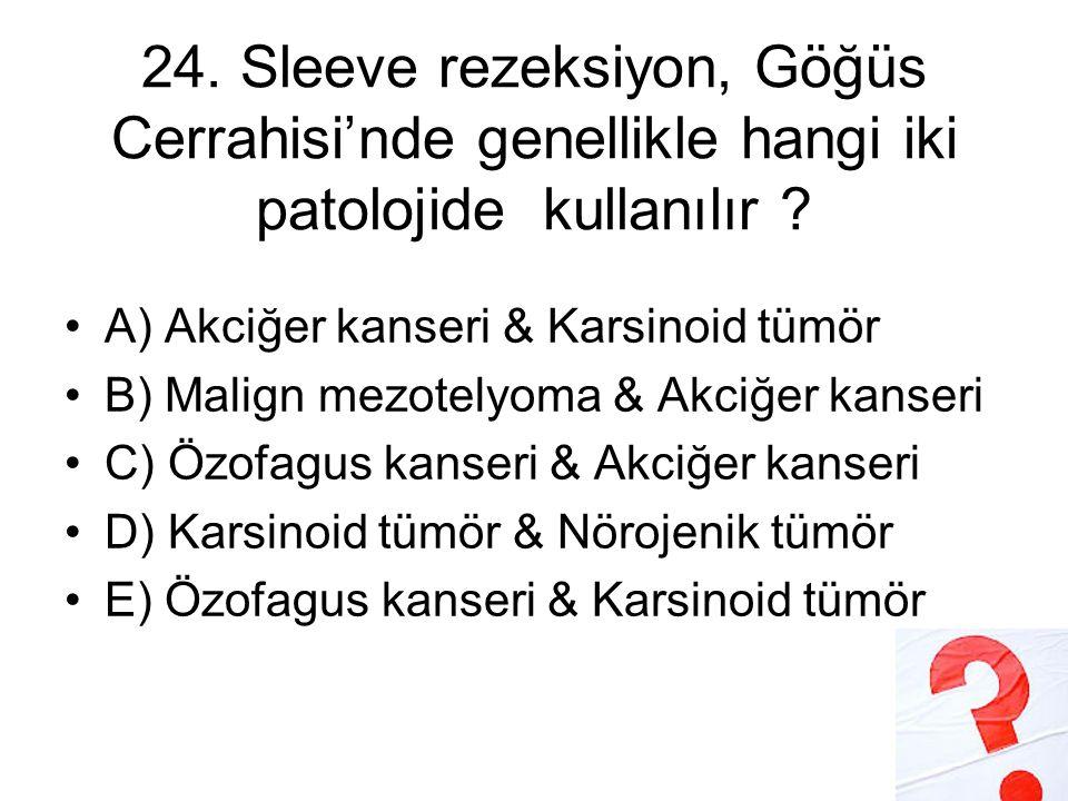24.Sleeve rezeksiyon, Göğüs Cerrahisi'nde genellikle hangi iki patolojide kullanılır .