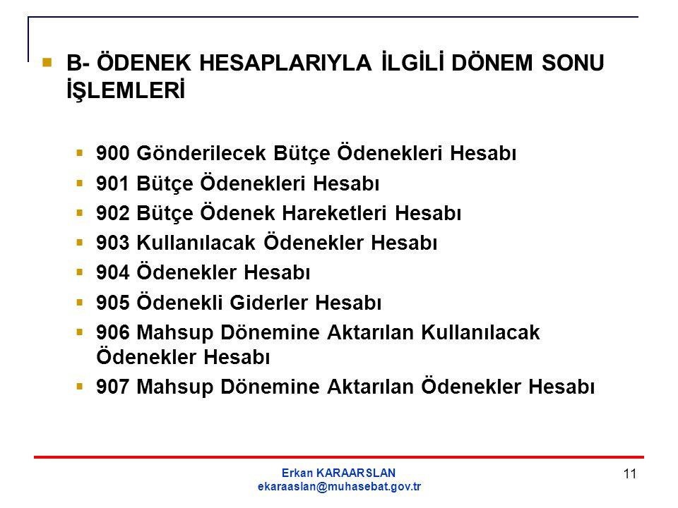 Erkan KARAARSLAN ekaraaslan@muhasebat.gov.tr 11  B- ÖDENEK HESAPLARIYLA İLGİLİ DÖNEM SONU İŞLEMLERİ  900 Gönderilecek Bütçe Ödenekleri Hesabı  901