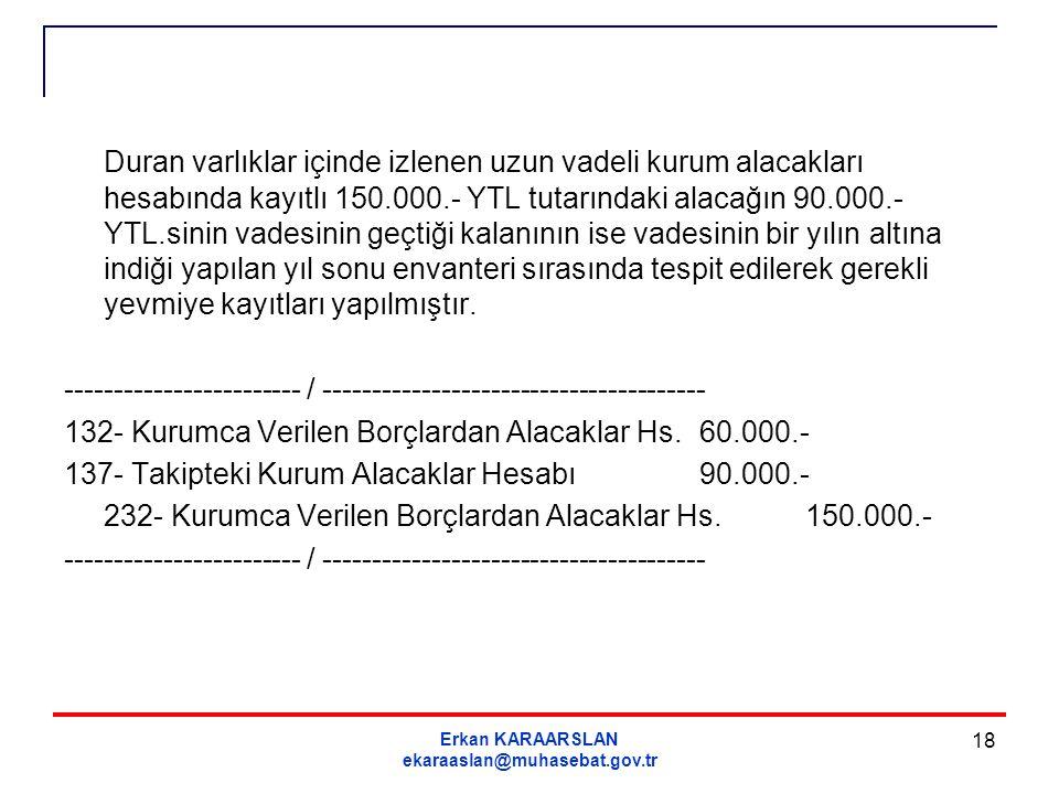 Erkan KARAARSLAN ekaraaslan@muhasebat.gov.tr 18 Duran varlıklar içinde izlenen uzun vadeli kurum alacakları hesabında kayıtlı 150.000.- YTL tutarındak