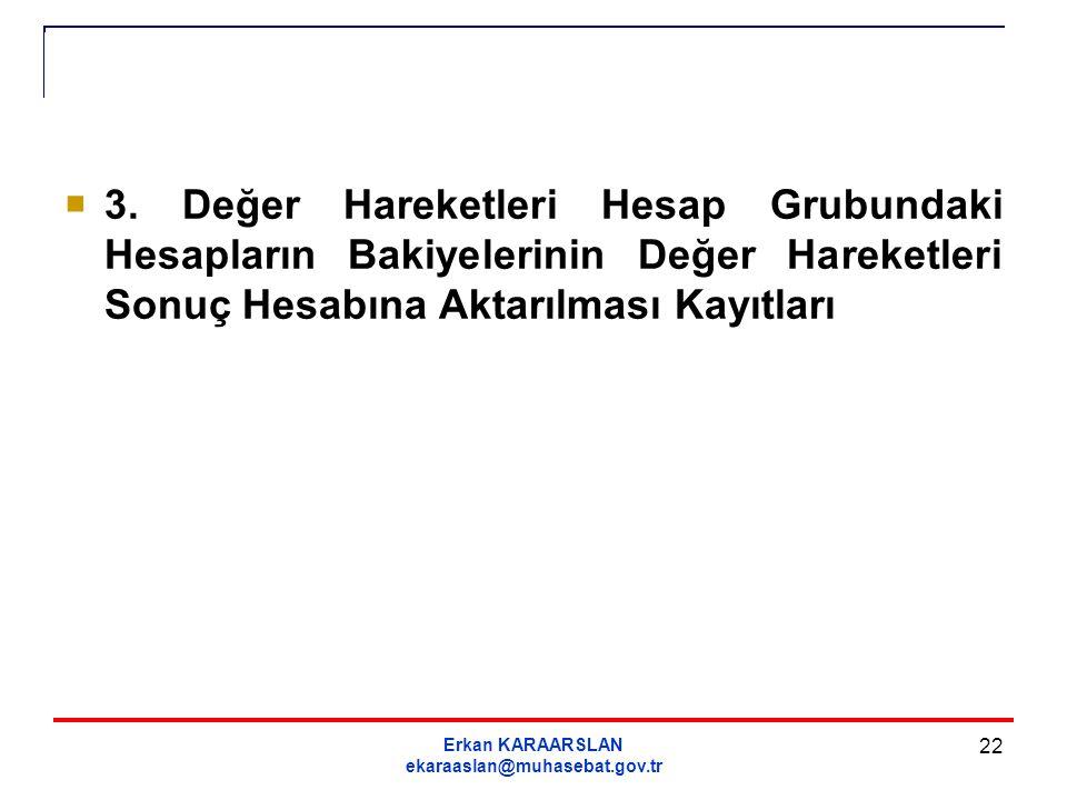 Erkan KARAARSLAN ekaraaslan@muhasebat.gov.tr 22  3. Değer Hareketleri Hesap Grubundaki Hesapların Bakiyelerinin Değer Hareketleri Sonuç Hesabına Akta