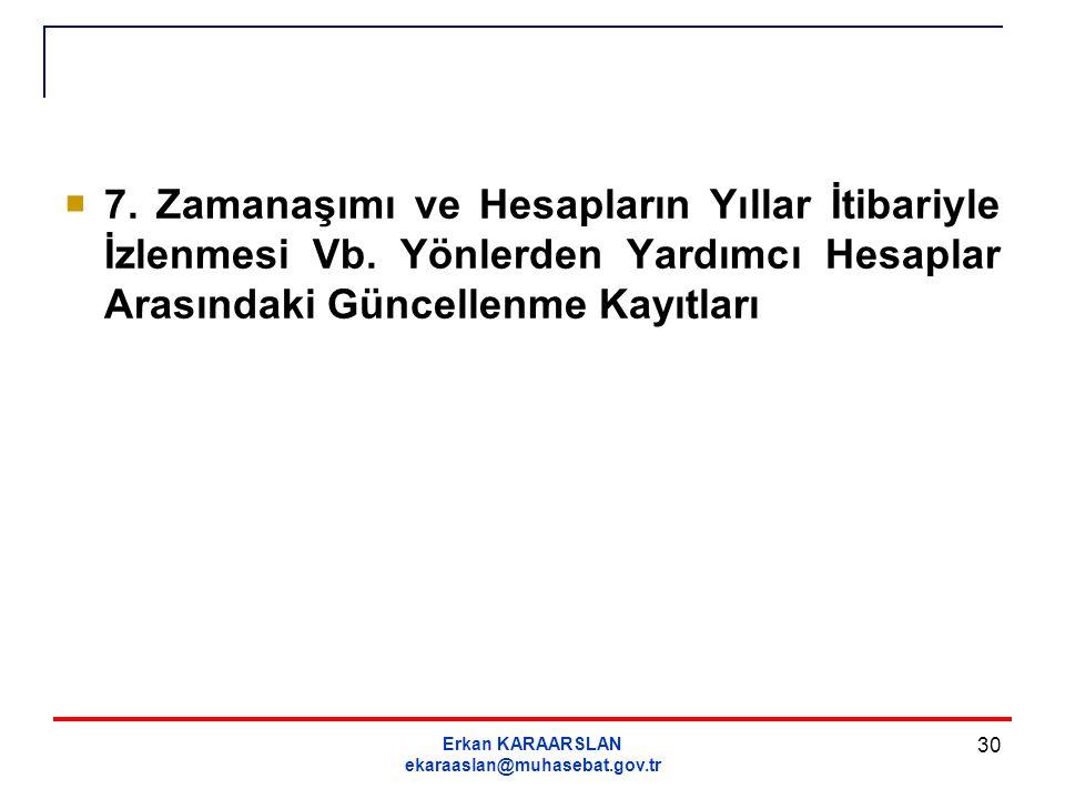 Erkan KARAARSLAN ekaraaslan@muhasebat.gov.tr 30  7. Zamanaşımı ve Hesapların Yıllar İtibariyle İzlenmesi Vb. Yönlerden Yardımcı Hesaplar Arasındaki G