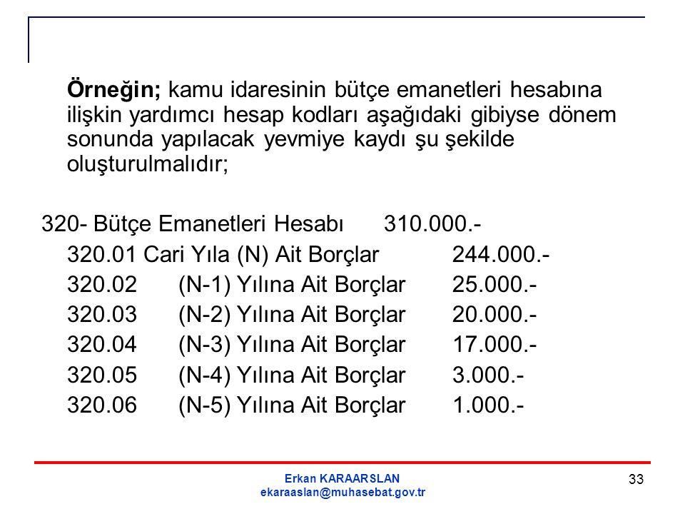 Erkan KARAARSLAN ekaraaslan@muhasebat.gov.tr 33 Örneğin; kamu idaresinin bütçe emanetleri hesabına ilişkin yardımcı hesap kodları aşağıdaki gibiyse dö