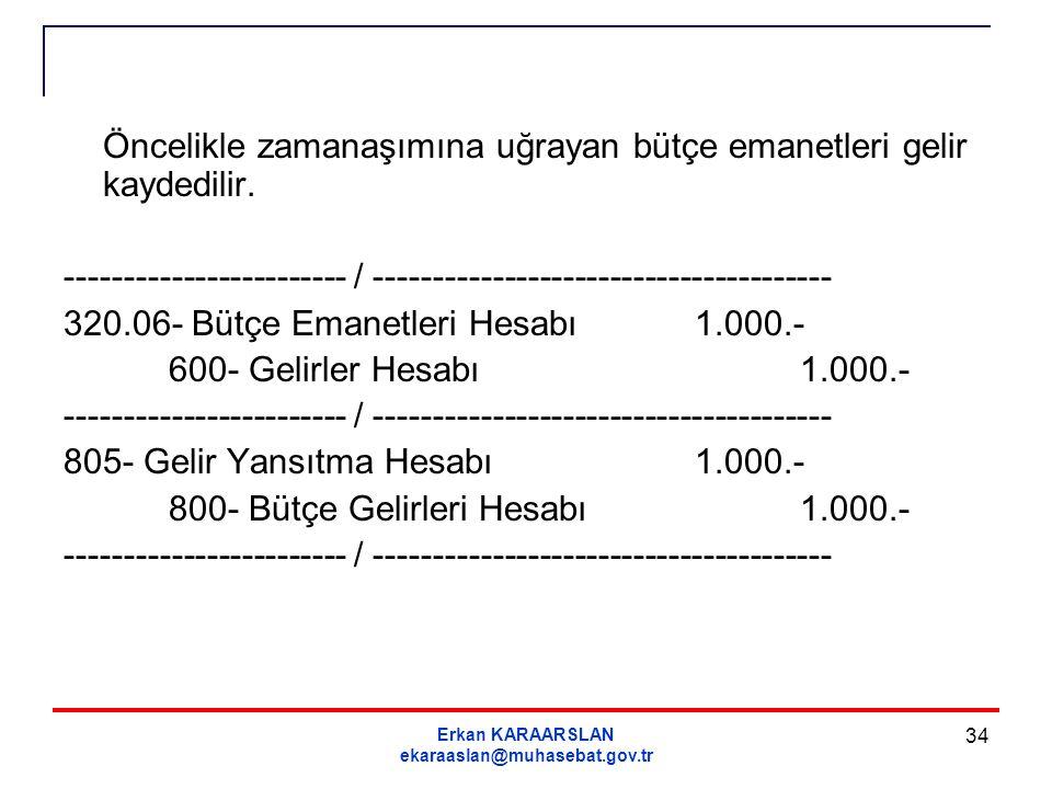 Erkan KARAARSLAN ekaraaslan@muhasebat.gov.tr 34 Öncelikle zamanaşımına uğrayan bütçe emanetleri gelir kaydedilir. ------------------------ / ---------