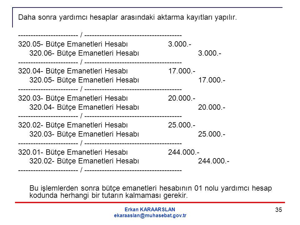 Erkan KARAARSLAN ekaraaslan@muhasebat.gov.tr 35 Daha sonra yardımcı hesaplar arasındaki aktarma kayıtları yapılır. ------------------------ / --------