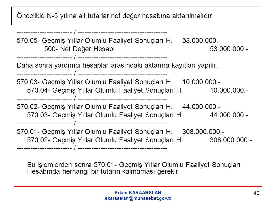 Erkan KARAARSLAN ekaraaslan@muhasebat.gov.tr 40 Öncelikle N-5 yılına ait tutarlar net değer hesabına aktarılmalıdır. ------------------------ / ------