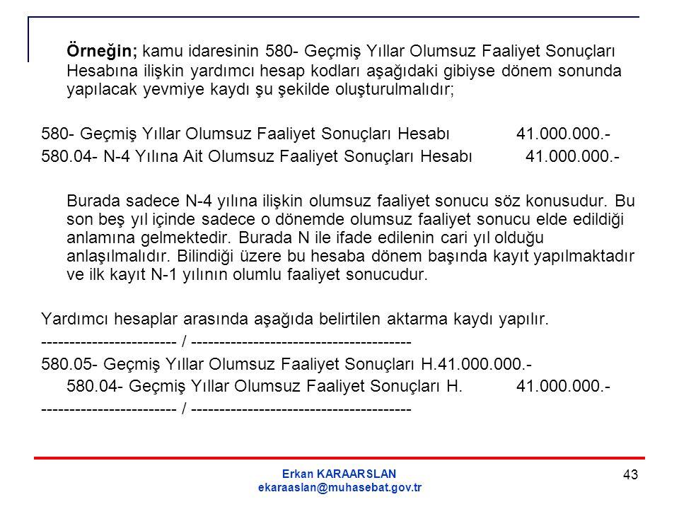 Erkan KARAARSLAN ekaraaslan@muhasebat.gov.tr 43 Örneğin; kamu idaresinin 580- Geçmiş Yıllar Olumsuz Faaliyet Sonuçları Hesabına ilişkin yardımcı hesap
