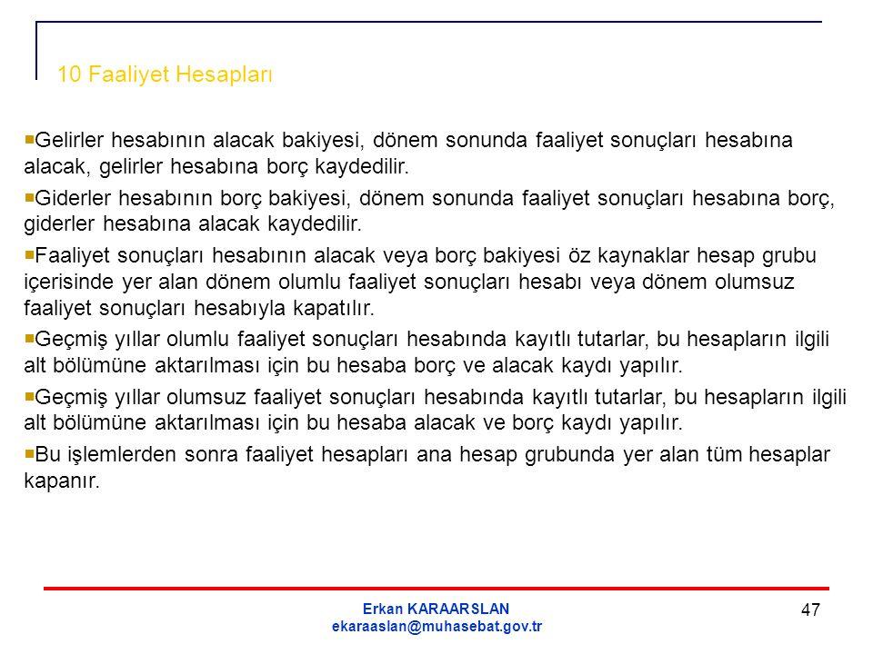 Erkan KARAARSLAN ekaraaslan@muhasebat.gov.tr 47  Gelirler hesabının alacak bakiyesi, dönem sonunda faaliyet sonuçları hesabına alacak, gelirler hesab
