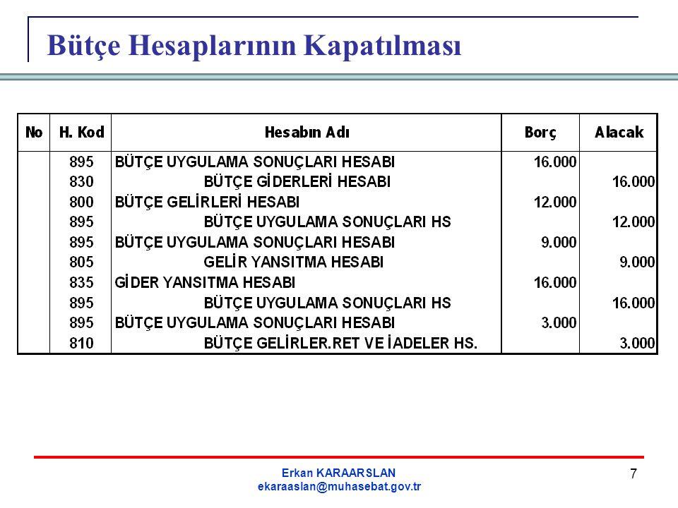 Erkan KARAARSLAN ekaraaslan@muhasebat.gov.tr 8 Dönem Sonu İşlemleri 16-Dönem sonunda, gider yansıtma hesabının alacak bakiyesi gider yansıtma hesabına borç, bütçe uygulama sonuçları hesabına alacak kaydedilir.