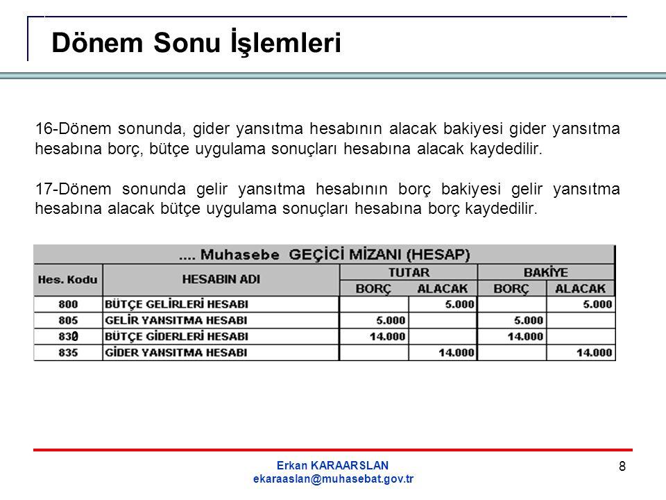 Erkan KARAARSLAN ekaraaslan@muhasebat.gov.tr 49 Dönem sonunda Faaliyet Sonuçları Hesabının borç bakiyesi vermesi durumunda bakiye tutarı 591 Dönem Olumsuz Faaliyet Sonucu Hesabına borç, 690-Faaliyet Sonuçları Hesabına alacak kaydedilir.