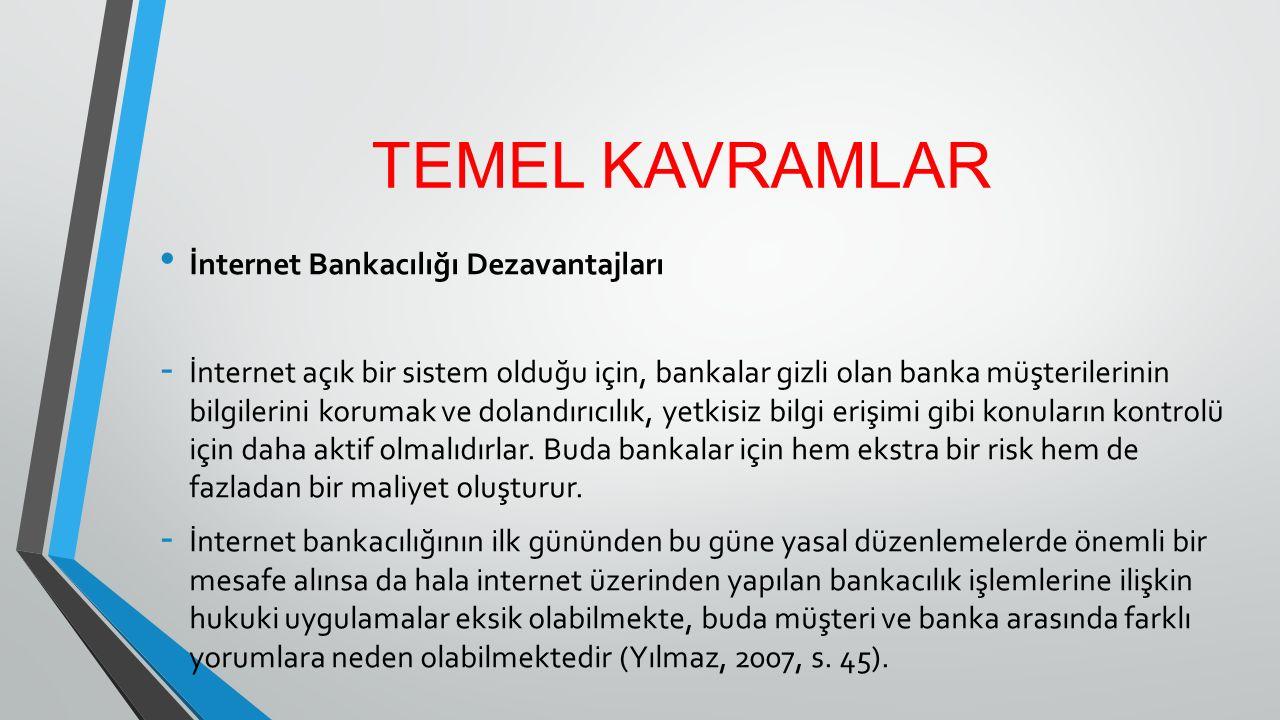 TEMEL KAVRAMLAR İnternet Bankacılığı Dezavantajları - İnternet açık bir sistem olduğu için, bankalar gizli olan banka müşterilerinin bilgilerini korum