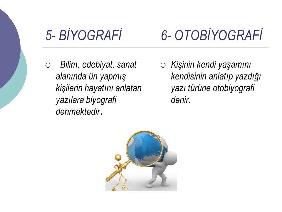 5- BİYOGRAFİ 6- OTOBİYOGRAFİ  Bilim, edebiyat, sanat alanında ün yapmış kişilerin hayatını anlatan yazılara biyografi denmektedir.  Kişinin kendi ya