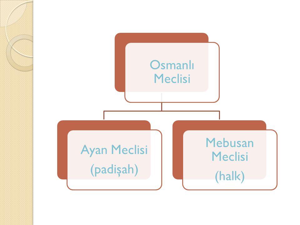 Osmanlı Meclisi Ayan Meclisi (padişah) Mebusan Meclisi (halk)