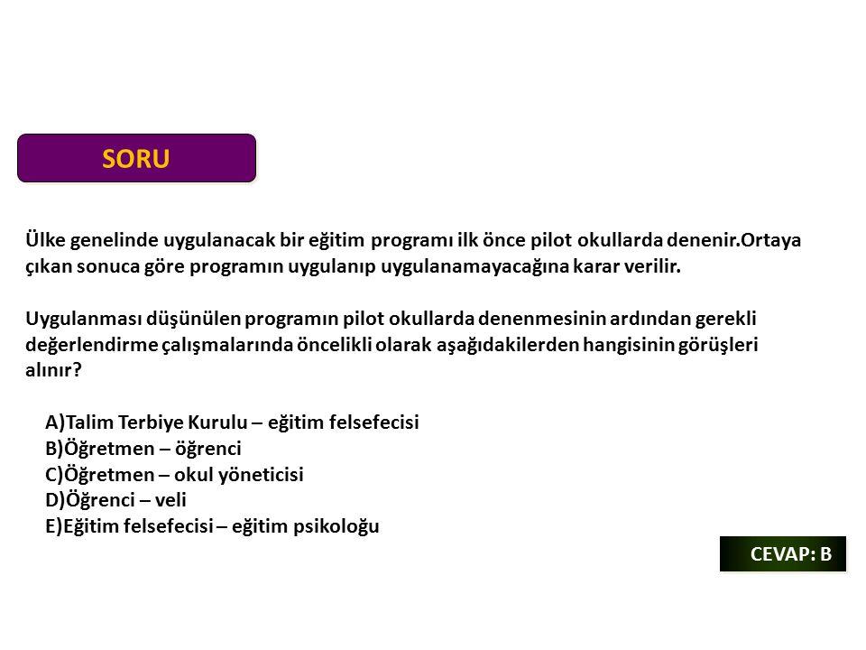 SORU CEVAP: B CEVAP: B Ülke genelinde uygulanacak bir eğitim programı ilk önce pilot okullarda denenir.Ortaya çıkan sonuca göre programın uygulanıp uygulanamayacağına karar verilir.