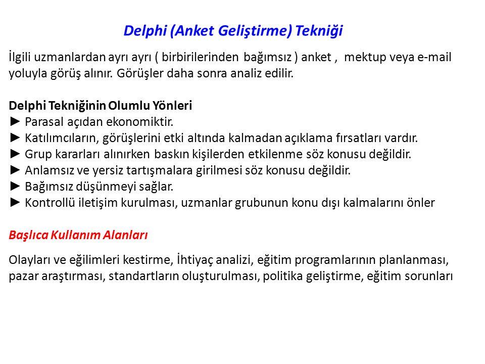 Delphi (Anket Geliştirme) Tekniği İlgili uzmanlardan ayrı ayrı ( birbirilerinden bağımsız ) anket, mektup veya e-mail yoluyla görüş alınır.