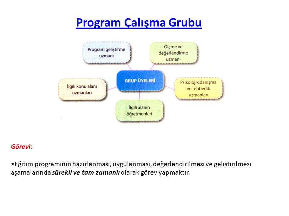 Program Danışma Grubu Görevi: Eğitim programlarının hedef, içerik, eğitim durumları ve değerlendirme öğelerinin belirlenmesinde çalışma grubuna danışmanlık hizmeti vermektir.